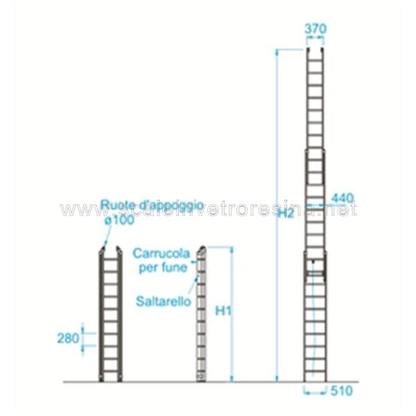 Scala in vetroresina con fune 3 rampe 12 gradini