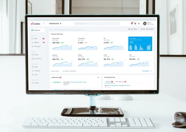Scaleo affiliate marketing software dashboard