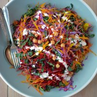 Shredded Rainbow salad with Greek yogurt Caesar dressing