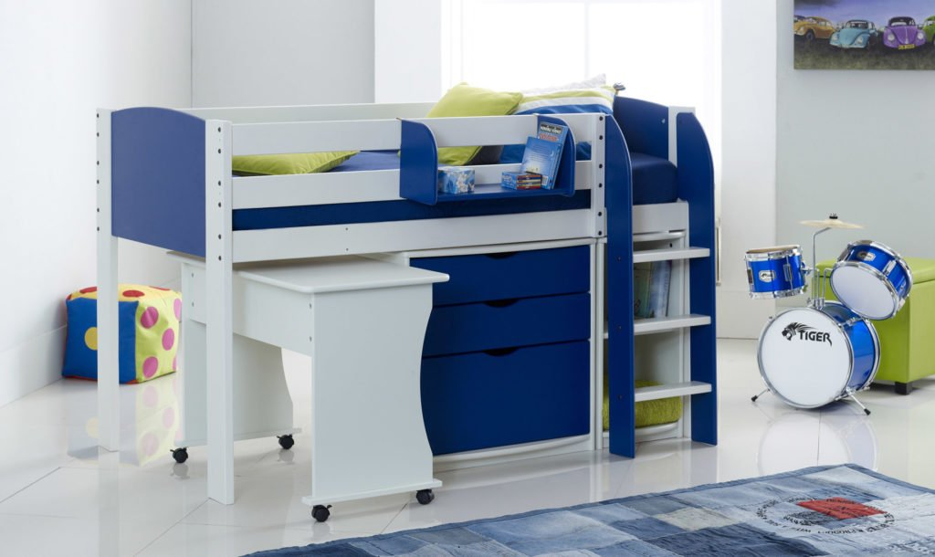 scallywag kids exclusive mid sleeper cabin bed with tuckaway desk 3 drawer chest shelf unit
