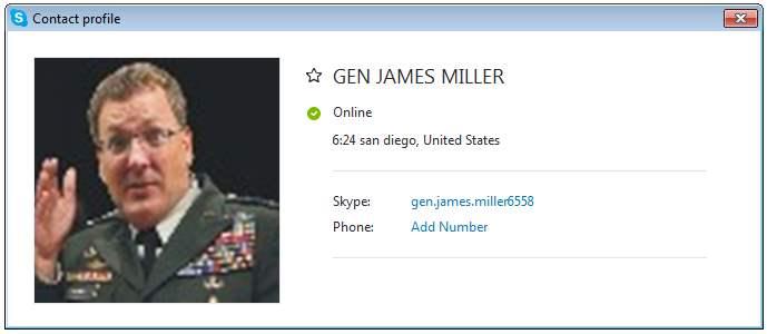 GEN JAMES MILLER Profile