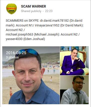 SCAMMERS on SKYPE: dr.david.mark78182 (Dr.david mark): Account N1/ irinayarzeva1952 (Dr David Mark): Account N2 /  michael.joseph563 (Michael Joseph): Account N2 /  yasser4030 (Eden Joshual)