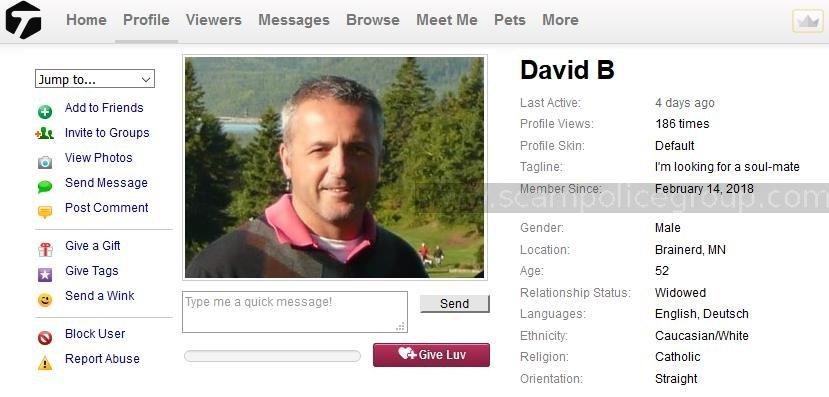 Romance Scam/Advance Fee Fraud/Phishing/Money Laundering:  DAVID BROWN/ JAMES POWEL