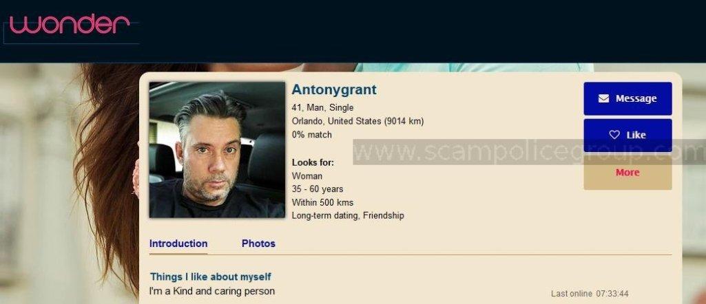 Romance Scam/Advance Fee Fraud/Phishing: ANTHONY GRANT