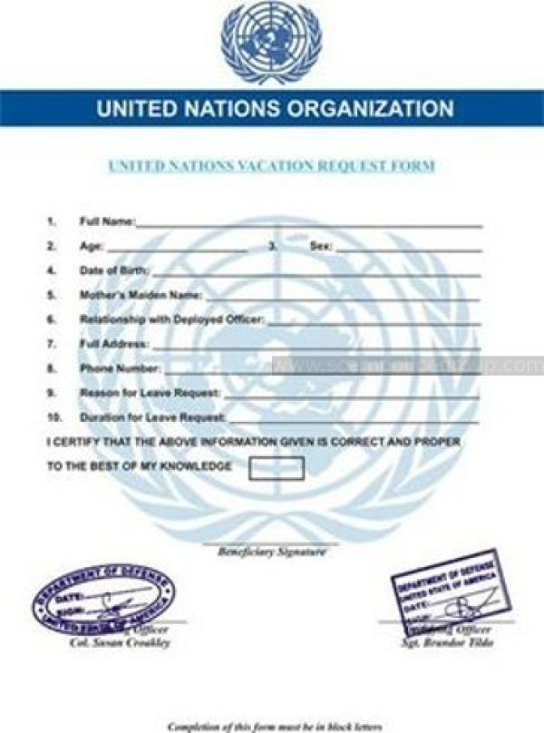 FAKE UNITED NATIONS VACATION REQUEST FORM