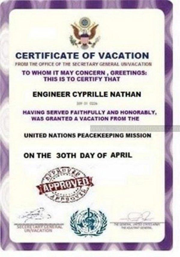 fake document regarding scammer named Cyprille Nathan