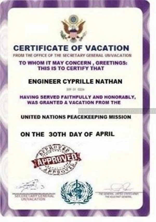 fake document regarding scammer named Cyprille Nathan
