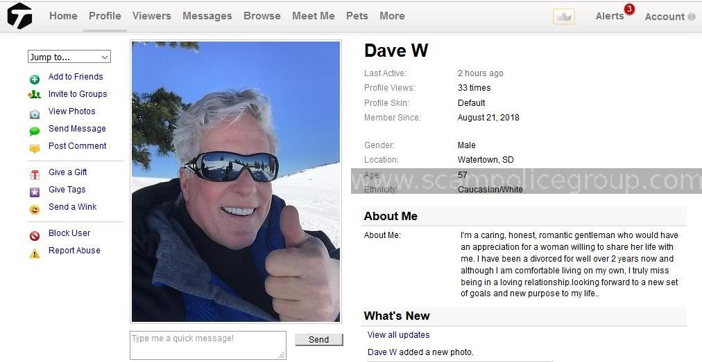 419 Scam/Romance Scam: DAVE WILLIAMS - Scampolice Group