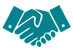 Teal handshake icon