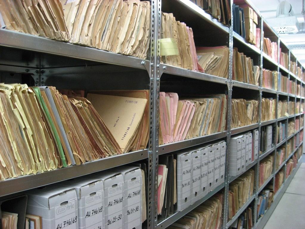 wall of manila files