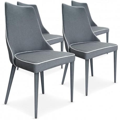 lot de 4 chaises scandinave chic tissu gris