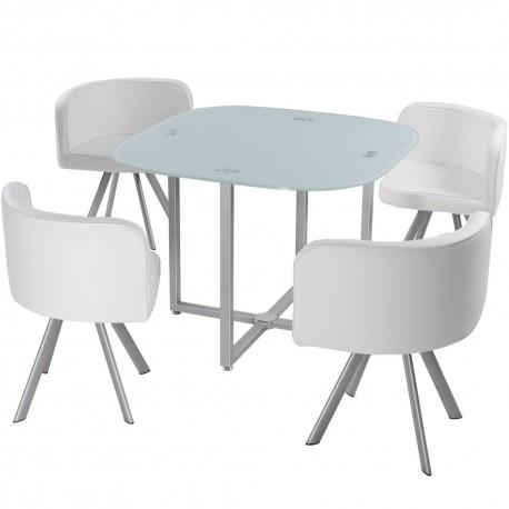 table scandinave et chaises vintage 90 blanc