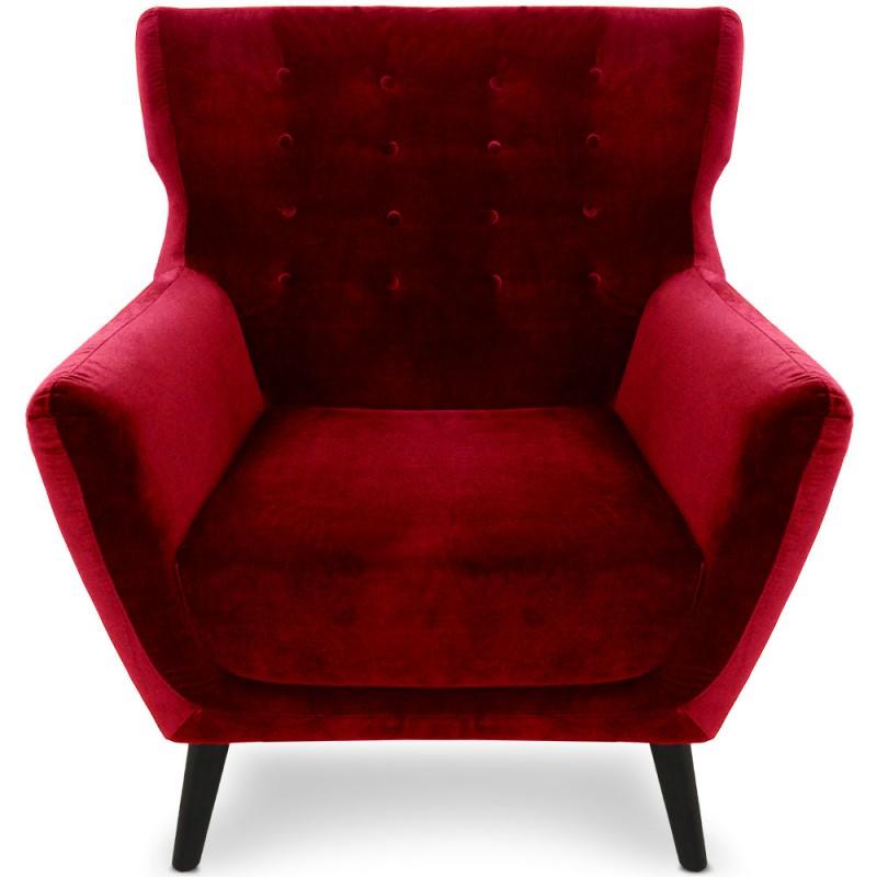 fauteuil scandinave aero velours rouge