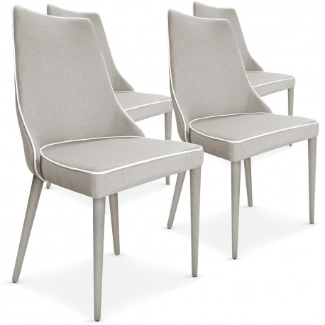 lot de 4 chaises scandinave chic tissu beige lisere blanc