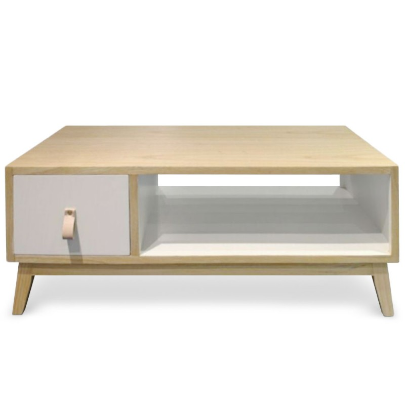 table basse avec tiroir scandinave blanc