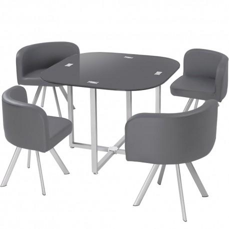 table scandinave et chaises vintage 90 gris