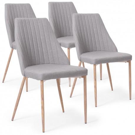 lot de 4 chaises anneke tissu gris clair