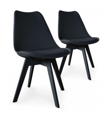 chaises scandinave colors noir lot de 2