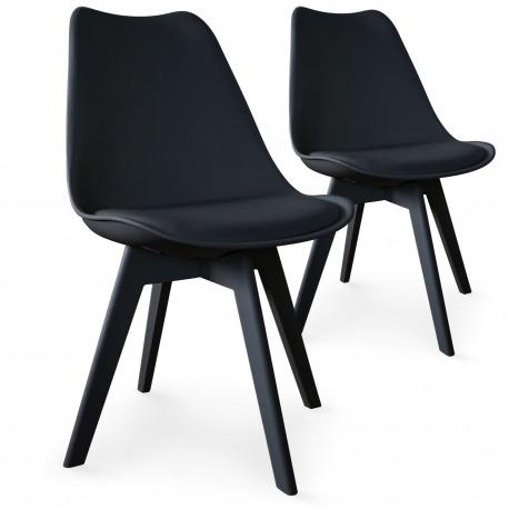 chaises scandinave colors noir lot de 2