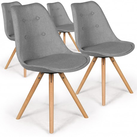 chaises scandinaves ida tissu gris lot de 4