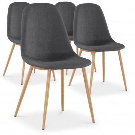 chaises scandinaves karl tissu gris lot de 4