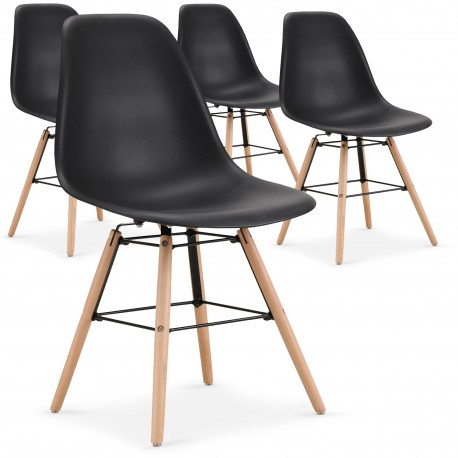 chaises scandinaves elies noir lot de 4