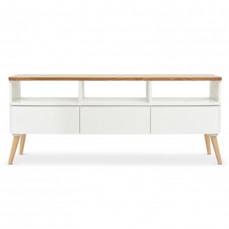 meuble tv scandinave bois et blanc