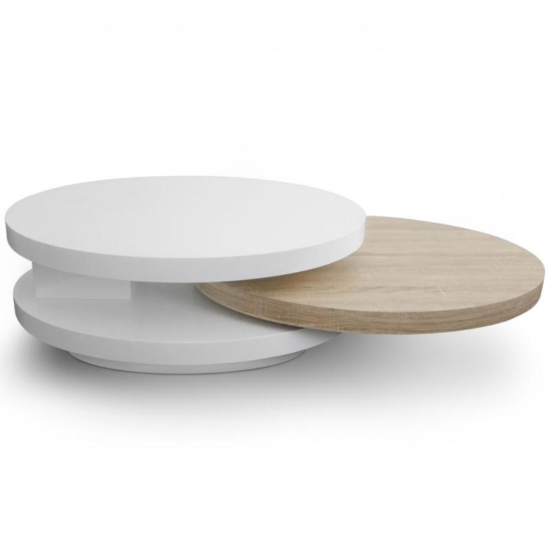 table basse plateaux tournants gala laque blanc et chene