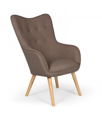fauteuil scandinave silaw tissu taupe