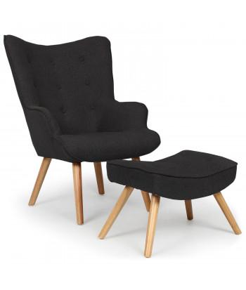fauteuil scandinave pouf maryz tissu noir
