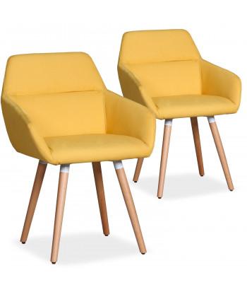 lot de 2 chaises fauteuils scandinaves kurga tissu jaune