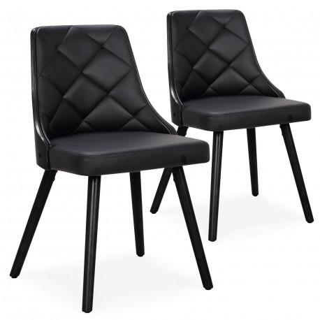 chaises scandinaves bois noir et simili cuir noir lot de 2