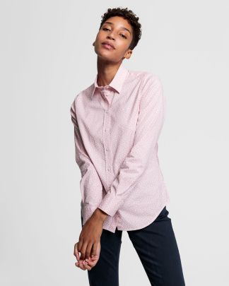 Gant Micro Floral Stretch Blouse Light Pink