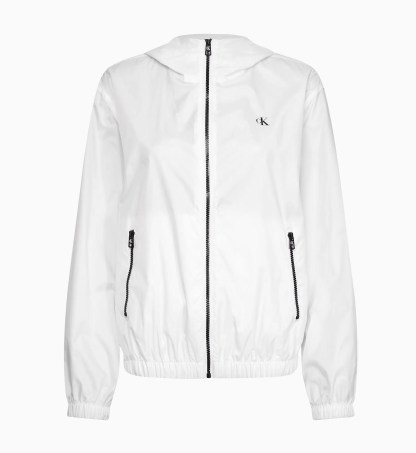Calvin Klein Jeans Recycled Hooded Logo Jacket White
