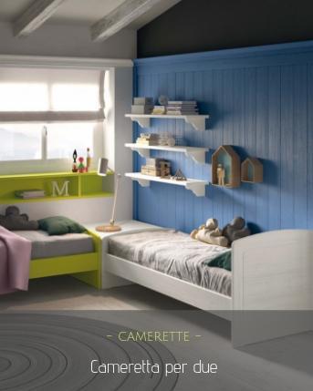 Due letti con contenitore, boiserie in legno a parete con scrivania a penisola regolabile e armadio. Cameretta Per Due 10 Soluzioni Per Dividere Gli Spazi