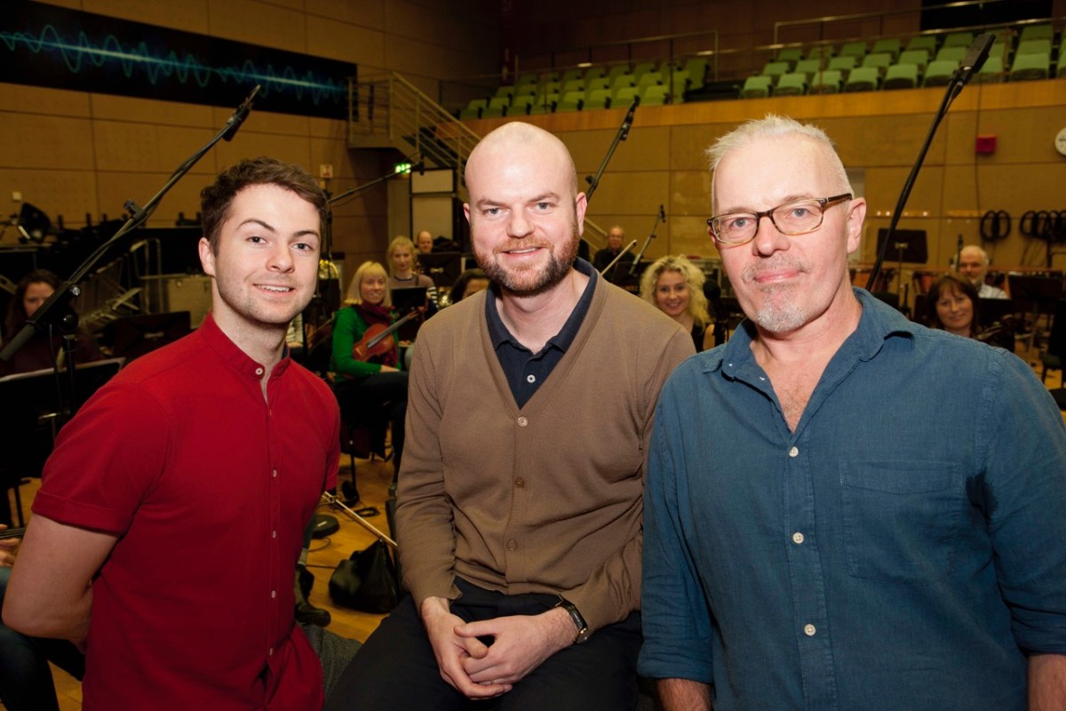 Alex Murphy, conductor Gavin Maloney and composer Ray Harman with the RTE Concert Orchestra 2 AR
