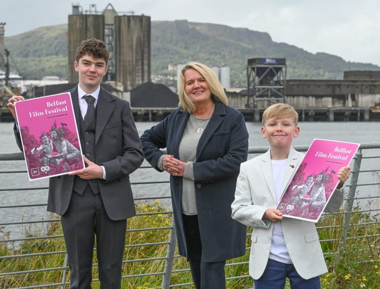 (From left to Right): Actor Lewis McAskie, who has roles in the opening and closing films of Belfast Film Festival, 'Belfast' and 'Here Before', Michele Devlin, Director of Belfast Film Festival, and Jude Hill, star of 'Belfast' and 'Mandrake' which will feature at this year's festival.