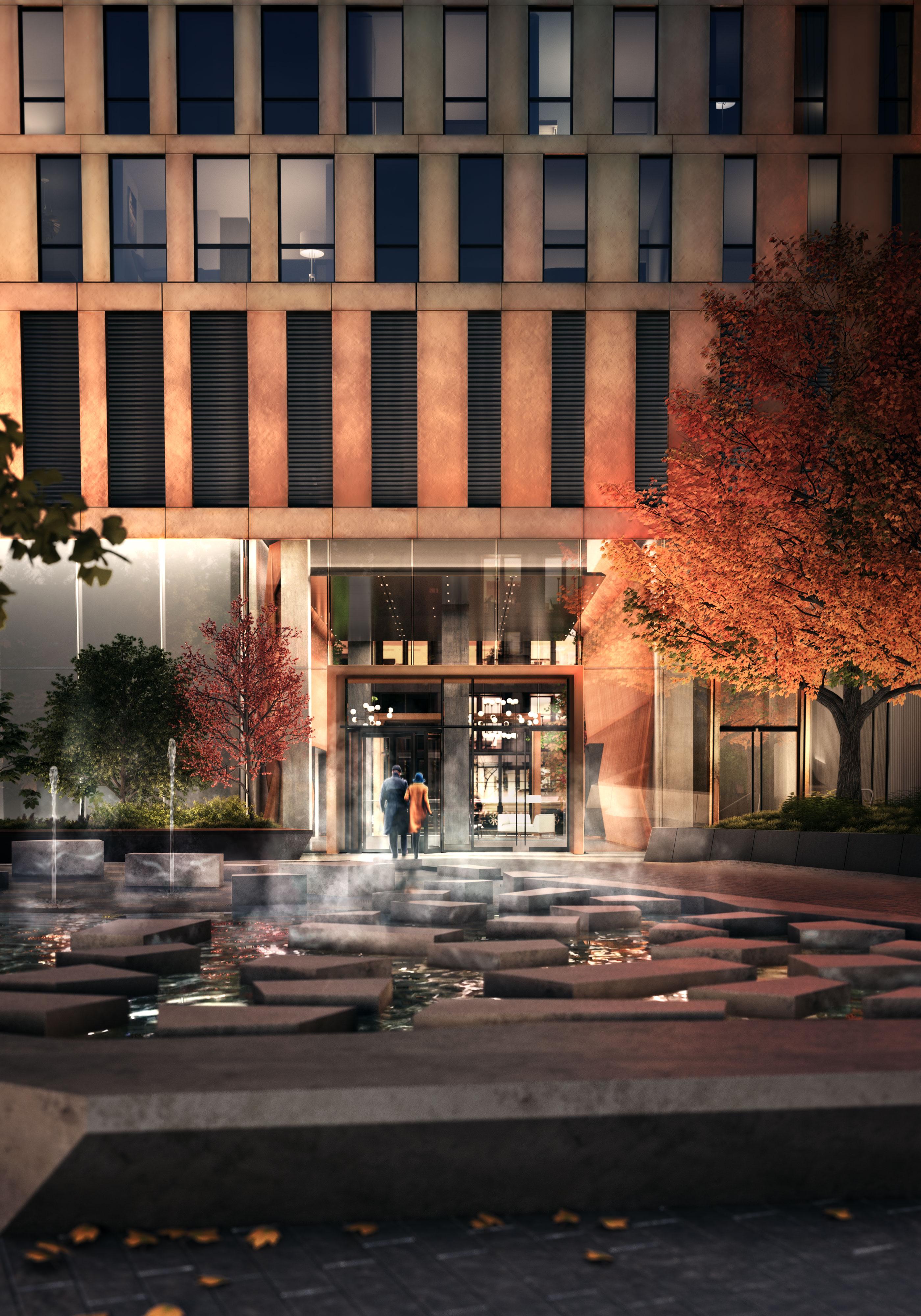 American Copper Building Plaza Scape
