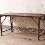 Vintage Folding Table Industrial Wooden Table