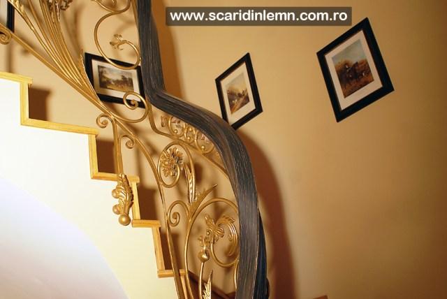 scara interioara din lemn - balustrada - mana curenta lemn curbat