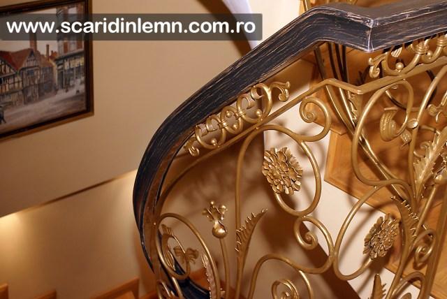 proiect design executie - scara interioara de lemn -  mana curenta lemn masiv curbat
