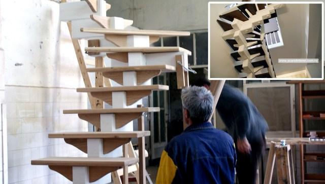 atelierul de tamplarie scara interioara din lemn masiv vang modular placare trepte de lemn cu mana curenta lemn curbat proiectare design productie preturi