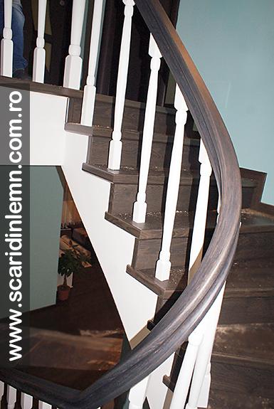 mana curenta lemn curbat balustrii albi scara interioara din lemn masiv