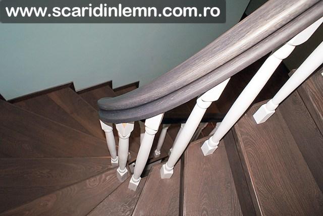 mana curenta din lemn curbat cu balustri strunjiti scari interioare lemn masiv