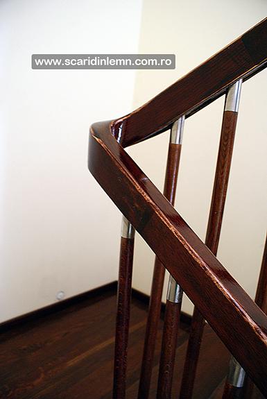 scari din lemn interioare placare trepte din lemn masiv balustrii cu terminatii de inox preturi