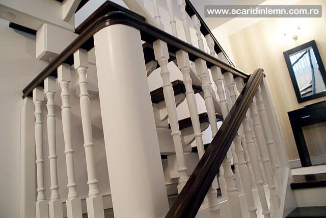 oferta pret scara interioara de lemn masiv vang modular placare trepte de lemn cu mana curenta curbare lemn