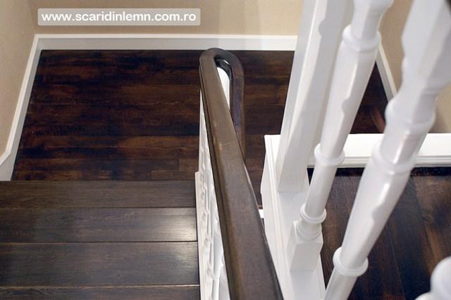 executie scara interioara din lemn masiv vang modular placare trepte de lemn cu mana curenta curbare lemn