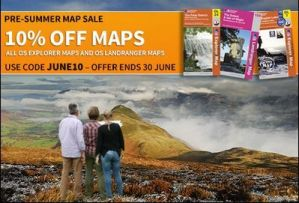 OS Explorer and Landranger UK maps – summer sale.