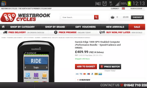 Best price on Garmin Edge 1000 in the UK, with free postage?