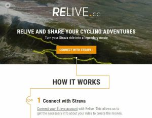 Relive.cc – Strava add-on makes movies of your rides.